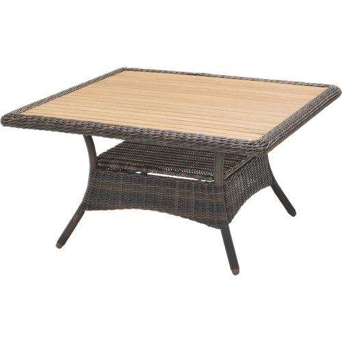 Mesa de resina trenzada san vicente marrón de 123x66x123 cm