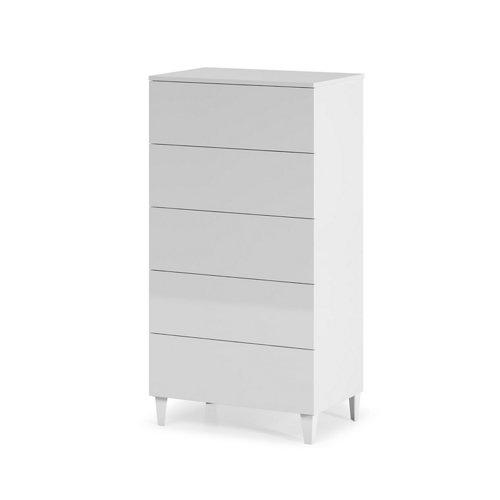 Cajonera 5 cajones serie loft blanca brillo 117x61x40cm (altoxanchoxfondo cm)