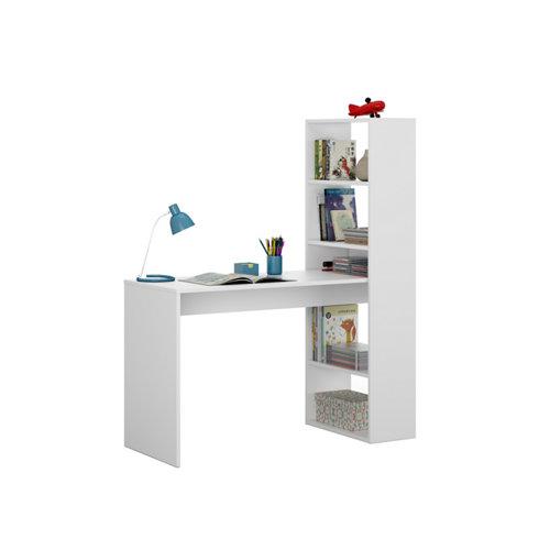 Mesa escritorio duplo con estantería blanco 120x144x50 cm