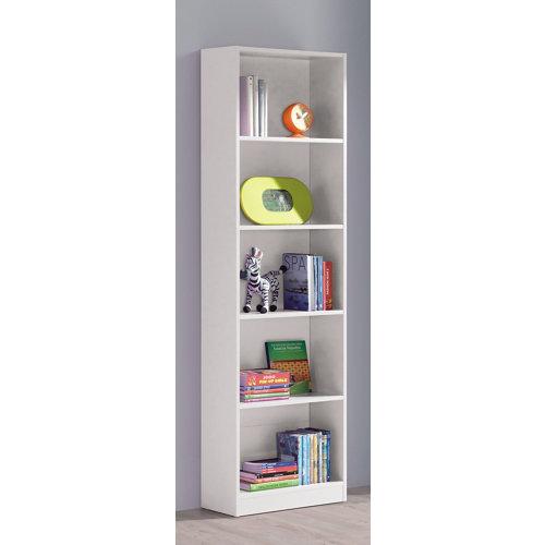 Librería estantería de color blanco de 52x180x25 cm y carga max, 8 kg por balda