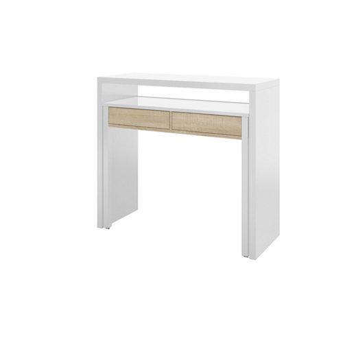 Mesa de escritorio blanco/roble 88x99x36 cm