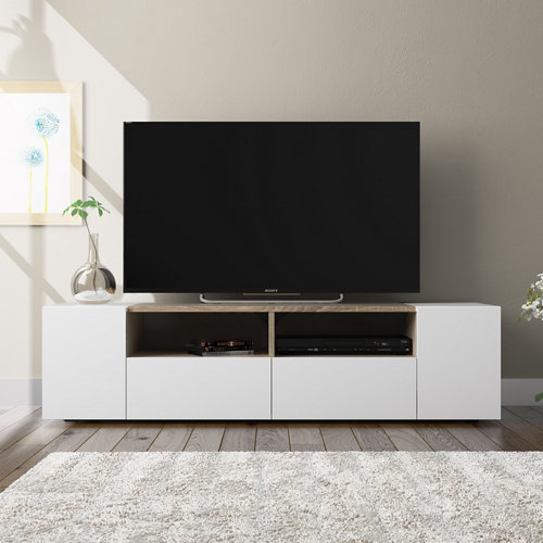 Mueble de televisión tamiko blanco con roble 34x138x40