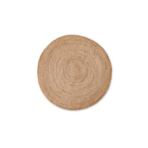 Alfombra beige yute circular 140 x 140cm
