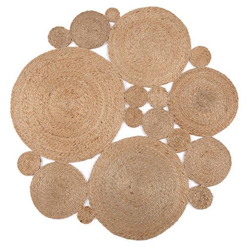 Alfombra beige yute irregular 150 x 150cm