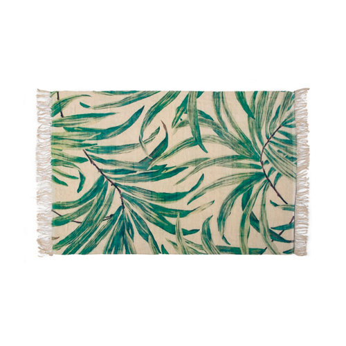Alfombra verde yute leaves 200 x 300cm