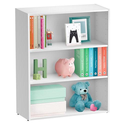 Librería estantería con dos baldas spaceo home blanco 80x100x30 cm