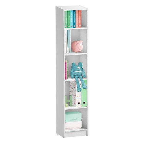 Librería estantería con cuatro baldas spaceo home blanco 40x200x30 cm
