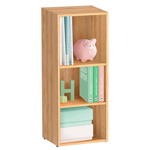 Librería estantería con dos baldas spaceo home roble 40x100x30 cm