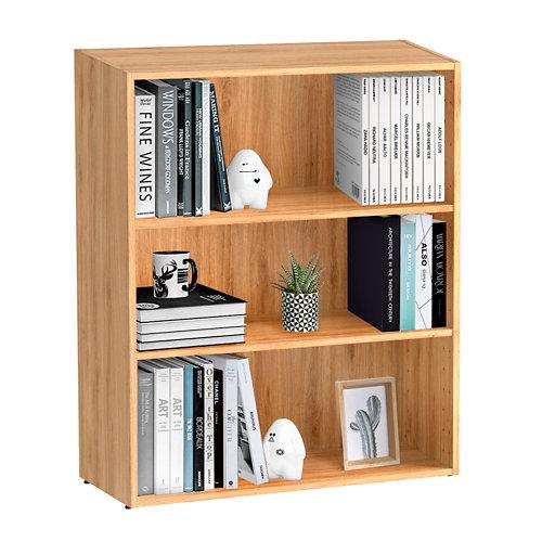 Librería estantería con dos baldas spaceo home roble 80x100x30 cm