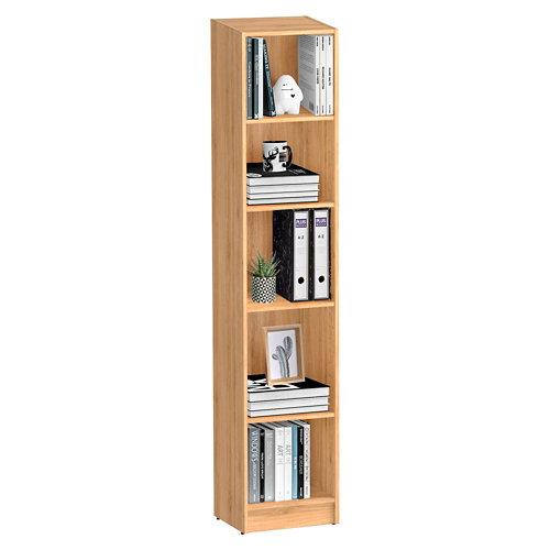 Librería estantería con cuatro baldas spaceo home roble 40x200x30 cm
