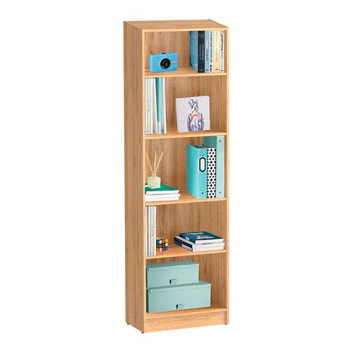 Librería estantería con cuatro baldas spaceo home roble 60x200x30 cm