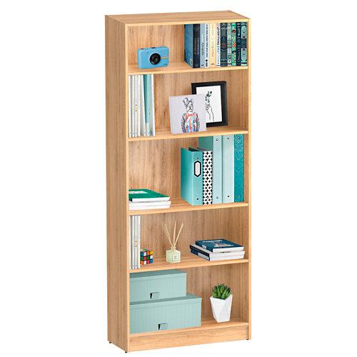 Librería estantería con cuatro baldas spaceo home roble 80x200x30 cm