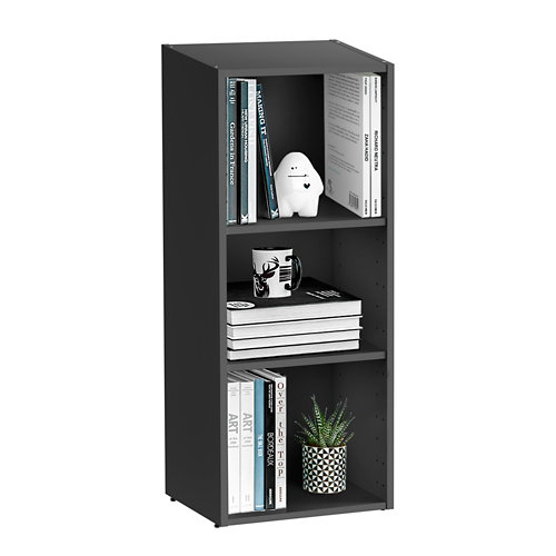 Librería estantería con dos baldas spaceo home gris 40x100x30 cm