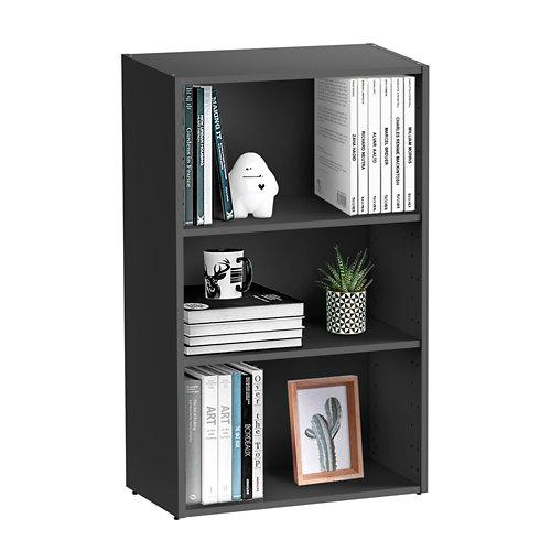 Librería estantería con dos baldas spaceo home gris 60x100x30 cm