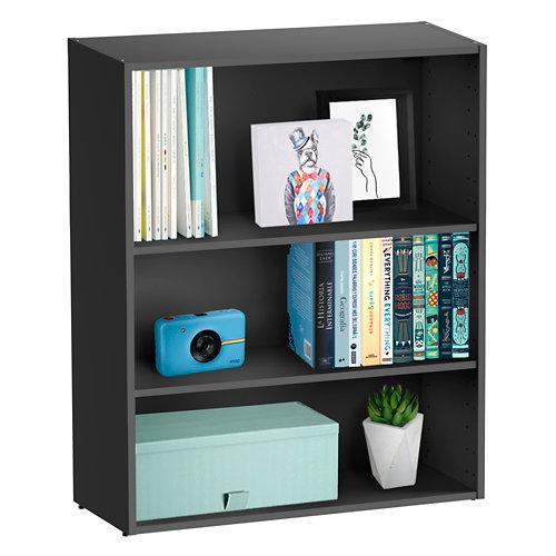Librería estantería con dos baldas spaceo home gris 80x100x30 cm