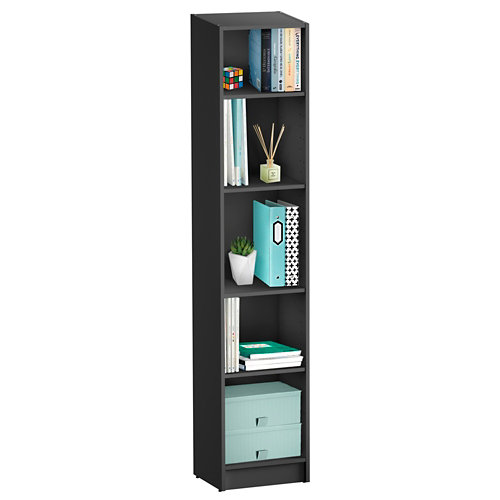 Librería estantería con cuatro baldas spaceo home gris 40x200x30 cm