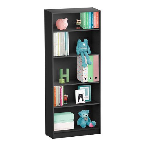 Librería estantería con cuatro baldas spaceo home gris 80x200x30 cm