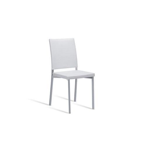 Silla de cocina portus canela asiento y respaldo blanco