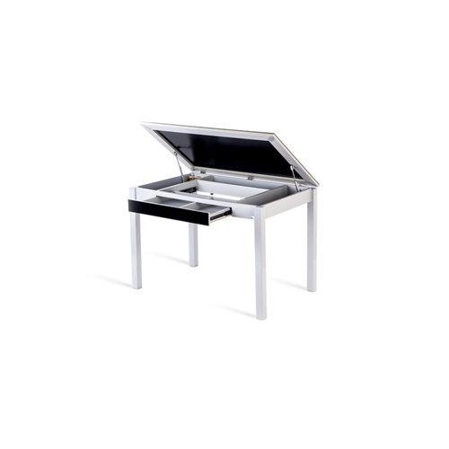 Mesa de cocina fija salsa 110x70 cristal negro