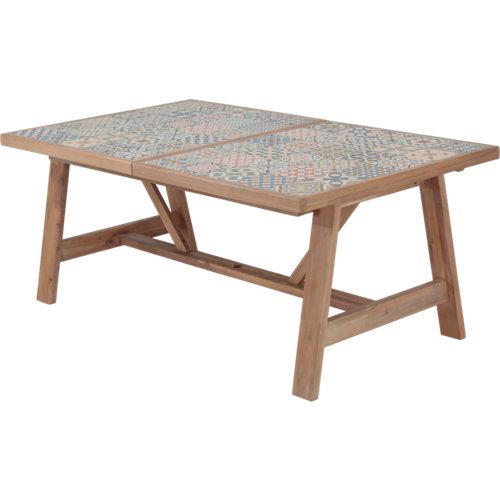 Mesa extensible de acacia naterial soho 75.4x178/250 cm
