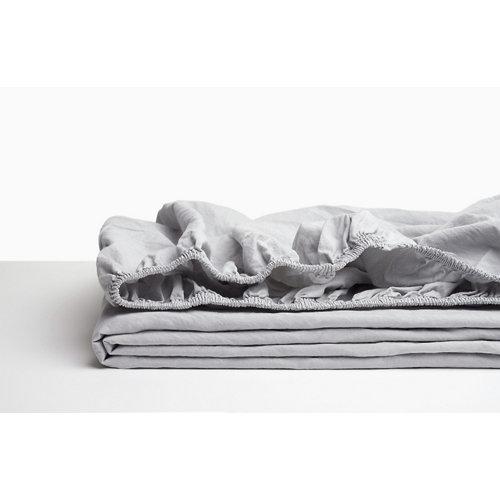 Sabana bajera ajustable cama 105cm percal liso perla w.g.