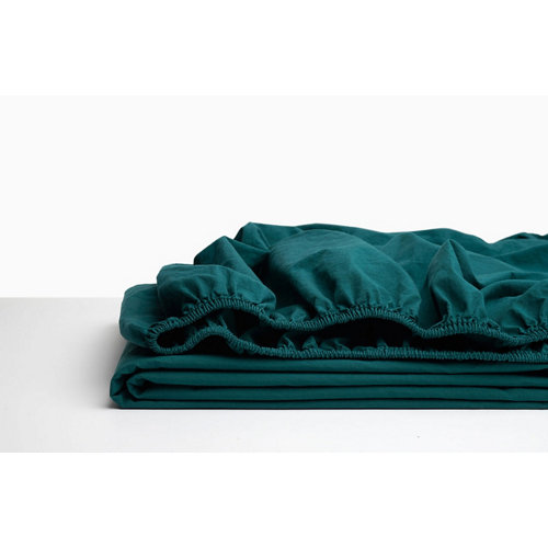 Sabana bajera ajustable cama 135cm percal liso teal w.g.