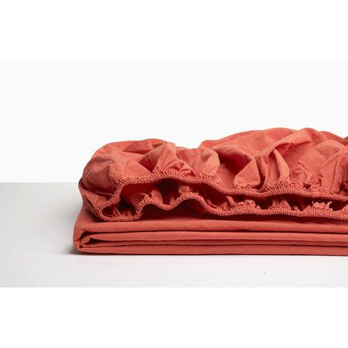 Sabana bajera ajustable cama 150cm percal liso coral w.g.