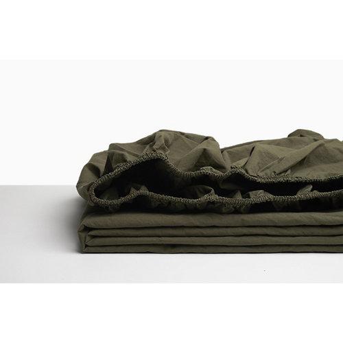 Sabana bajera ajustable cama 180cm percal liso oliva w.g.