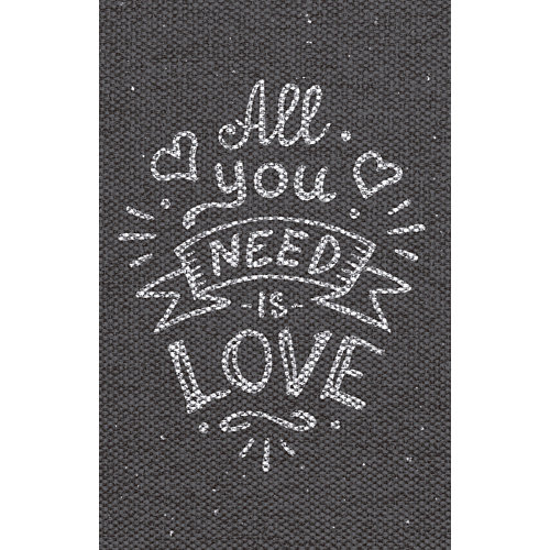 Alfombra gris pvc all you need is love 48 x 75cm