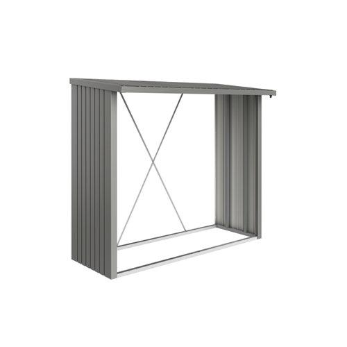 Leñero acero biohort gris cuarzo 229x199x102 cm