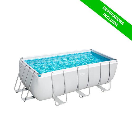 Piscina desmontable rectangular bestway 412x201x122 cm liso blanco