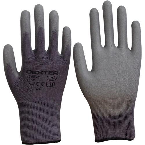 Guantes dexter poliuretano gris tactil t 8