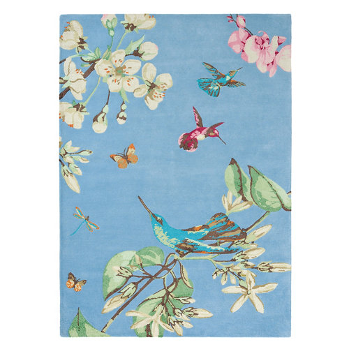 Alfombra lana y viscosa wedgewood hummingb-azul 170x240cm