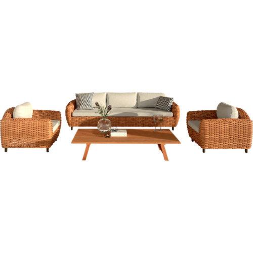 Conjunto de muebles de exterior lombok de teca para 5 comensales