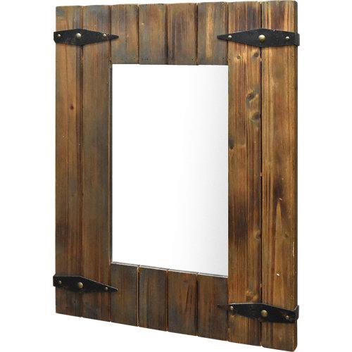 Espejo rectangular rustic nogal oscuro 120 x 80 cm