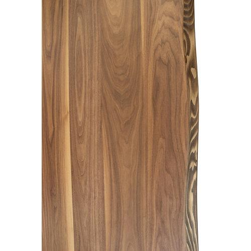 Tablero para mesa rechapado en madera de nogal 92,5x185x4,8 cm lados forma árbol