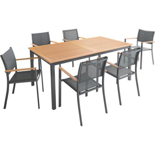 Conjunto de muebles de exterior oris extensible de madera para 6 comensales