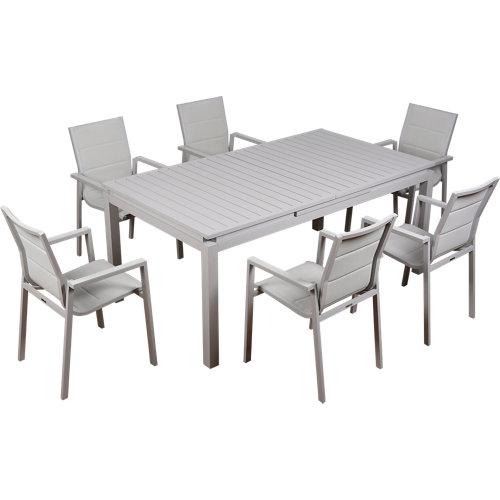 Conjunto de muebles de exterior odyssea extensible de aluminio para 6 comensales