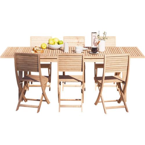 Conjunto de muebles de exterior solis extensible de madera para 6 comensales