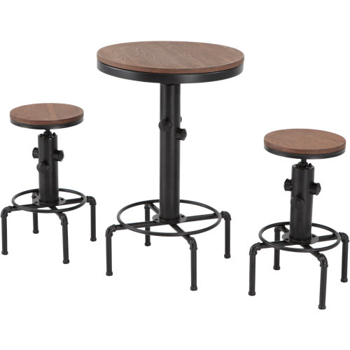 Conjunto de muebles de terraza bistrot de metal y madera para 2 comensales