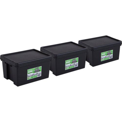 Pack 3 cajas bambox negra 29x21x38 cm 16l