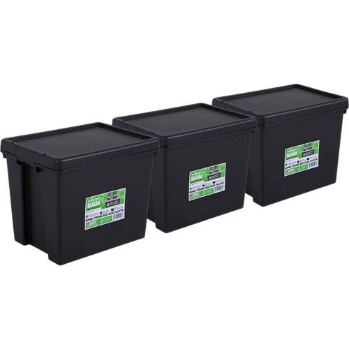 Pack 3 cajas bambox negra 29x21x38 cm 24l