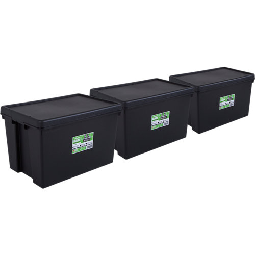 Pack 3 cajas bambox negra 40x37x59 cm 62l