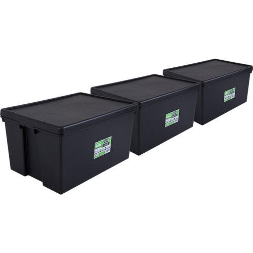 Pack 3 cajas bambox negra 49x37x68 cm 96l