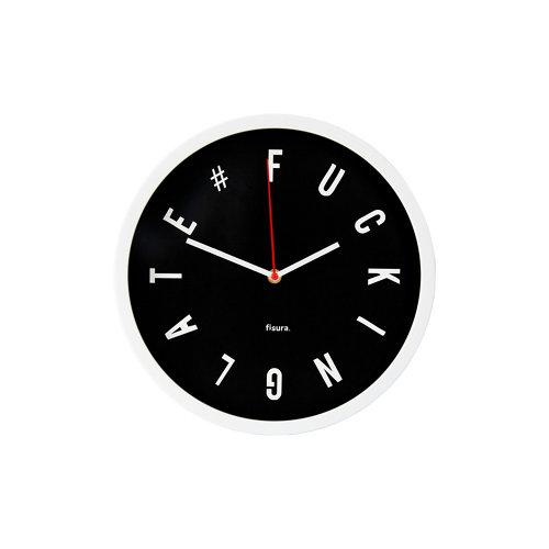 Reloj de pared fisura fuckin late circular negro 30cm