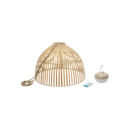 Lámpara de techo exterior reona de fibra natural recargable 900 lúmenes