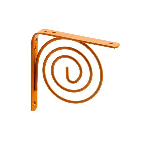 1 escuadra spiral de acero naranja para baldas de 150 mm