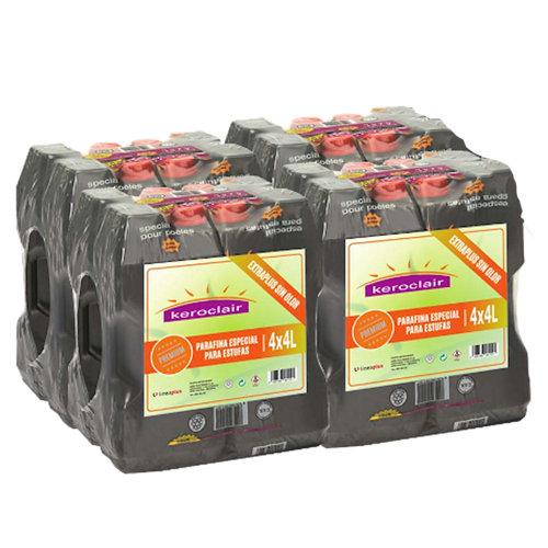 Pack de 16 bidones de parafina keroclair extraplus 4l
