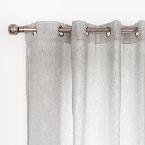 Visillo dolomiti con motivo liso gris de 280 x 140 cm