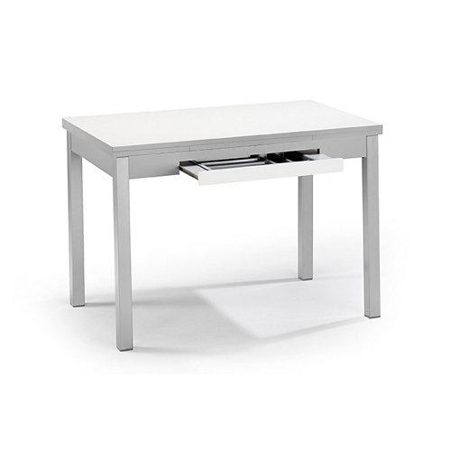 Mesa meri laminada blanca armazón y patas aluminio 90x50